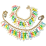Early MIRIAM HASKELL Necklace Bracelet Pastel Bell Flower Fringe Set