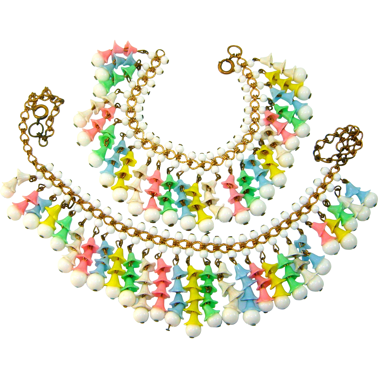 Early MIRIAM HASKELL Pastel Bell Flower Fringe Necklace Bracelet Set