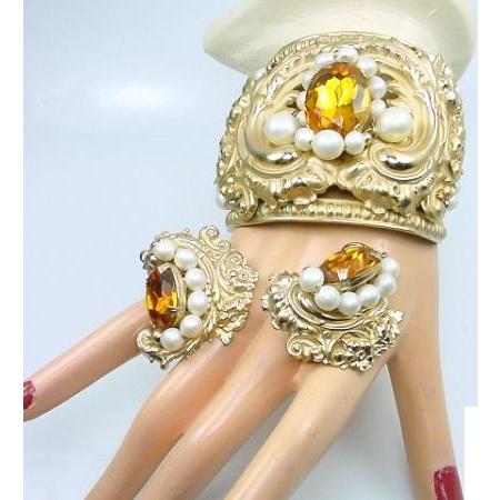 Vintage NAPIER Huge Rococo Cuff Bracelet Earring Set