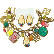 Vintage ASIAN ORIENTAL Theme Charm Bracelet Buddha Earrings Set