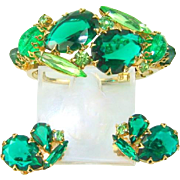 Vintage Large Green Rhinestone Clamper Bracelet Earring Set