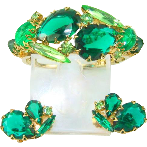 Vintage Bracelet Earrings Large Green Rhinestone Clamper Set