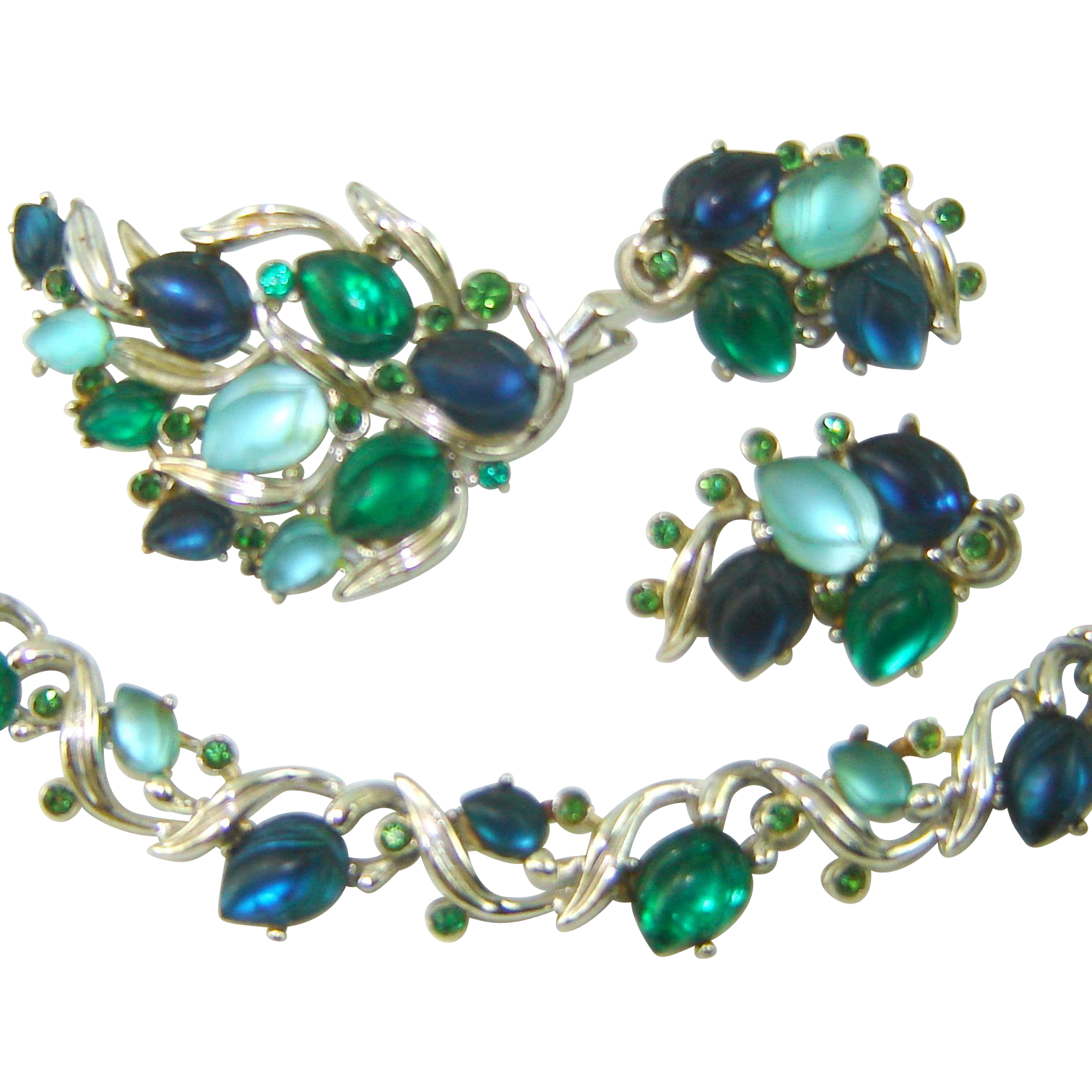 Vintage BSK Necklace Brooch Earrings Fruit Salad GLOWING LEAVES Blue Green Set