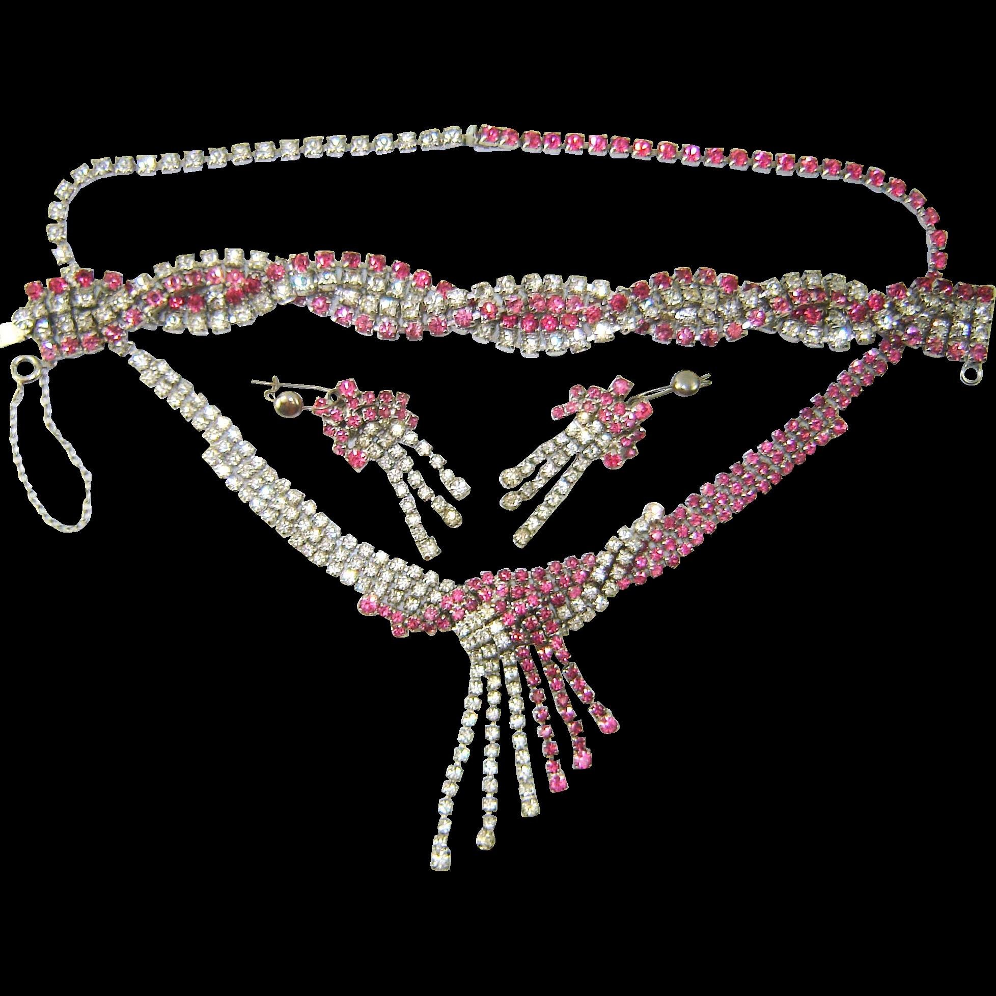 Vintage Dangle RASPBERRY Pink Rhinestone Necklace Bracelet Earring PARURE Set