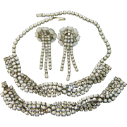 Vintage Parure BRAIDED Rhinestone Milk Glass Necklace Bracelet Earrings