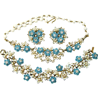Vintage Enamel BLUE ROSES Necklace Bracelet Earrings Faux Pearl Rhinestone Parure