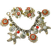 Vintage Signed ART Bracelet Earrings Starfish Shells Faux Coral Charm Set