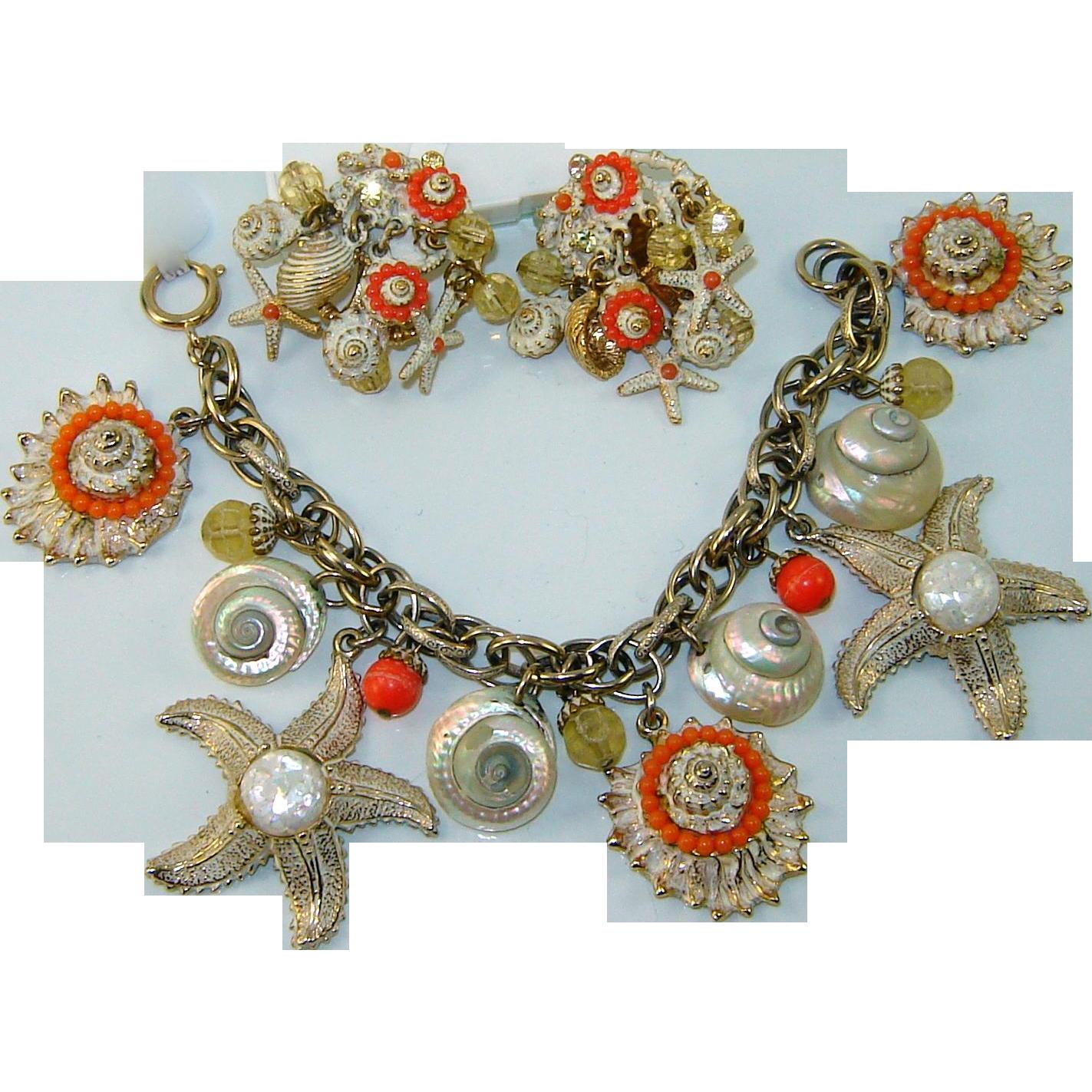 Vintage Signed ART Starfish Shells Charm Bracelet Earrings Set