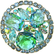 Vintage Juliana Brooch Aqua Green Givre Rhinestone Large Book Piece