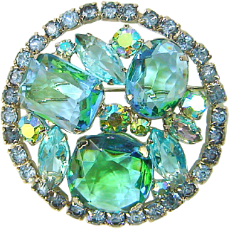 Vintage Juliana Aqua Green Givre Rhinestone Brooch Book Piece
