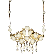 Vintage Necklace ROCOCO ETRUSCAN Style Runway Size High Domes White Dangles