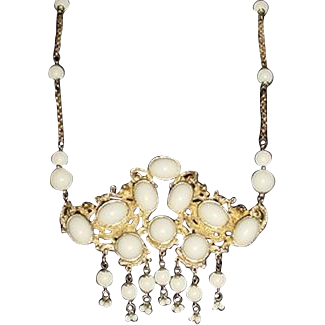 Vintage ROCOCO ETRUSCAN Style Necklace Runway Size High Domes White