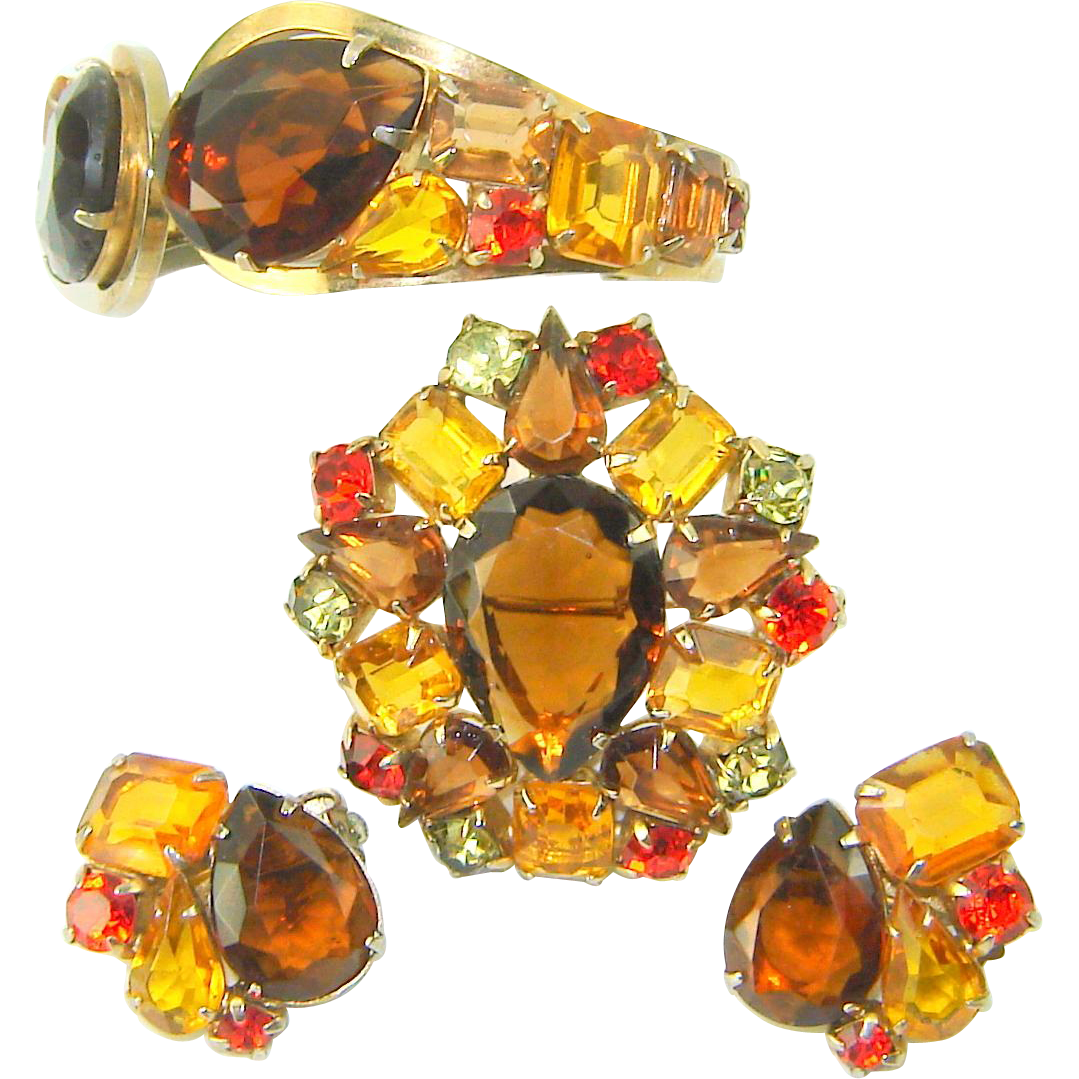 Vintage JULIANA D&E Bracelet Brooch Earrings Over Sized Pear Rhinestone Book Pc. Amber Topaz Orange Set