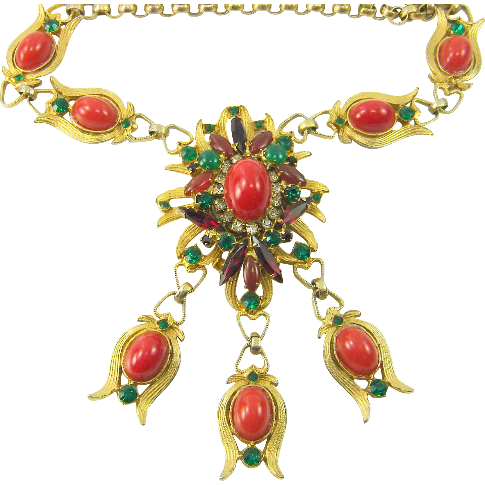Vintage Juliana D&E Egyptian Necklace Faux Coral Cabochon Green Rhinestone Book Piece