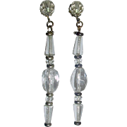 "WHITE SALE 50% Vintage Signed MIRIAM HASKELL 3"" Crystal Duster Earrings"