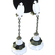 WHITE SALE 50% Vintage LEWIS SEGAL Earrings Black White Glass Margarita Dangles