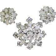 WHITE SALE 50% Vintage KRAMER White Givre Rhinestone Brooch Earring Set