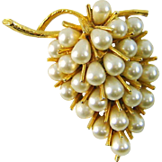 WHITE SALE 50% Vintage 3 D Signed ART Brooch Grape Cluster Faux Pearls