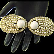 Vintage Belt Buckle Kandell Marcus NY Rhinestones White Cabochons