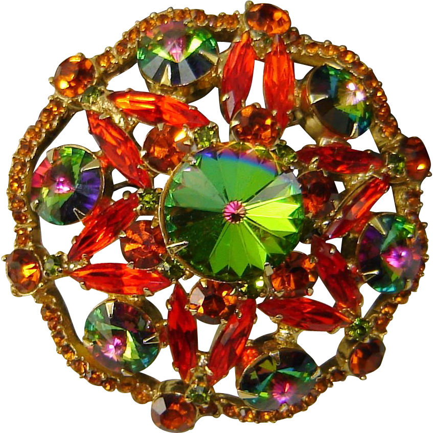 Vintage Juliana D&E Huge Rivoli Brooch Green Hyacinth Topaz Rhinestone
