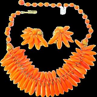 Vintage Orange Glass Spikes Egyptian Rev Necklace Earrings Set Signed