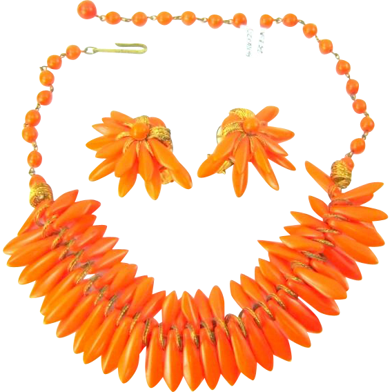 Vintage Orange Glass Spikes Necklace Earrings Egyptian Revival Set Signed