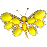 Vintage Juliana D&E Butterfly Brooch Bright Yellow Opalescent Rhinestones