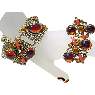 Vintage SELRO Bracelet Earring Set Coral Rootbeer Rhinestone