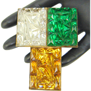 Art Deco Dress Clip Huge Sculpted Square Rhinestones Green Topaz