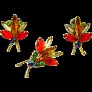 Vintage Juliana D&E Brooch Earrings Insect Bug Set Figure 8's