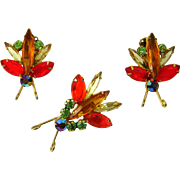 Vintage Juliana D&E Brooch Earrings Insect Bug Set Figure 8's