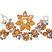 Vintage Juliana Bracelet Brooch Earrings Large Amber Pears AB