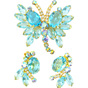 Vintage Juliana Butterfly Brooch Earrings Aqua AB