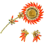 Vintage Juliana D&E Flower Brooch Earrings Orange Navettes Huge