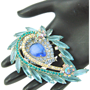 Vintage Juliana D&E Brooch Blue Givre Aqua Navette Large