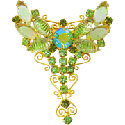 Vintage Brooch Butterfly Peridot Givre Art Glass Navettes Filigree Scrolls
