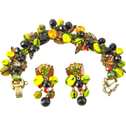 Vintage Juliana D&E Carmen Miranda Fruit Seed Beads Bracelet Earring Set