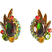 Vintage Juliana D&E Earrings Watermelon Earrings Climbers Autumn Colors