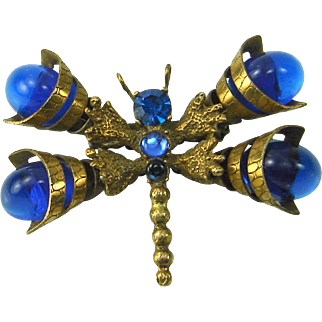 Vintage Juliana D&E Brooch Dragonfly Blue Cone Wing Large Book Piece