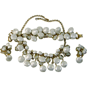 Vintage Juliana D&E Parure White Givre Puffy Dangle Beads