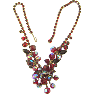 Vintage Juliana D&E Necklace Dangle Beads Multi Red Rhinestone Navettes