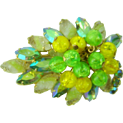 Vintage Brooch Givre AB Navettes Crackle Dangle Beads Green Yellow AB