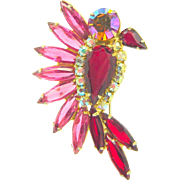 Vintage Juliana D&E Brooch Bird Red Pink AB Rhinestone Navettes