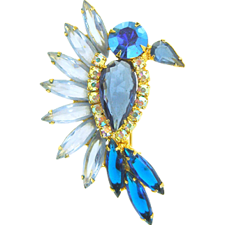 Vintage Juliana D&E Bird Blue Rhinestones
