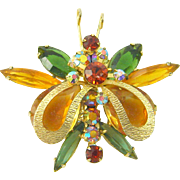 Vintage Juliana D&E Brooch Butterfly Metal Wings Rhinestone Green Topaz Navettes Figure 8's