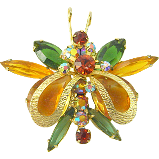 Vintage Juliana D&E Brooch Butterfly Metal Wings Figure 8's