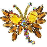 Vintage Juliana Butterfly Brooch  Topaz Amber AB Rhinestone Navettes