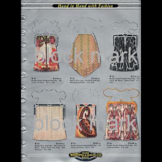 1928 Whiting Davis Original Mesh Purse 4 Pg Ad Insert Polychrome 24 Styles