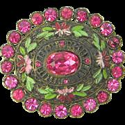 Vintage Little Nemo Brooch Enamel Pink Rhinestones