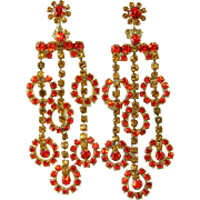 Vintage Juliana Earrings Shoulder Dusters Orange Topaz Rhinestone Figure 8's Rare